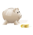 a light beige pig piggy bank on a white background vector image vector image