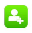 add new user account icon digital green vector image