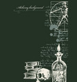 alchemy background with vintage sketches and notes vector image