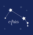 aries sign constellation icon on dark vector image vector image