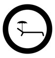 Beach chair icon black color in circle or round