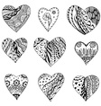 Black and White Abstract Love Heart Icon Set vector image vector image