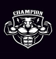 black and white badge of a bull bodybuilder vector image vector image