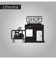 black and white style icon shop cart with food vector image vector image