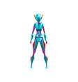 blue female robot space suit superhero cyborg vector image vector image