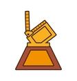 cartoon film clapper trophy awards gold wooden vector image vector image