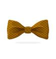 checkered retro bow tie brown color vector image vector image
