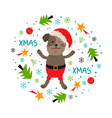 christmas dog greeting card unique hand drawn vector image
