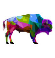 colorful bison pop art style isolated on white vector image vector image