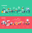 flat design style web banners of teamwork and succ vector image vector image