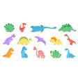 funny dinosaurs colourful dinosaur print dino vector image vector image