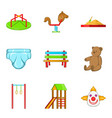great playground icons set cartoon style vector image vector image