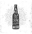 Hand drawn vintage label with beer bottle vector image vector image