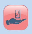 hand holding a smartphone with the symbol vector image