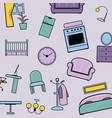 house furniture pattern lilac vector image