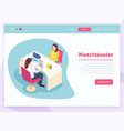 isometric nutritionist landing page vector image vector image