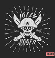 jolly roger pirate vintage stamp vector image vector image