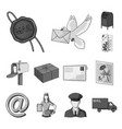 mail and postman monochrome icons in set vector image vector image