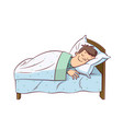 man on a bed vector image