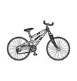 mountain bike bicycle sketch engraving vector image