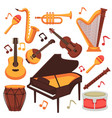 musical instruments and music notes vector image