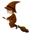 old witch in brown clothes on broom vector image vector image