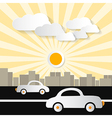 Paper Abstract Retro City with Buildings Cars Tre vector image vector image