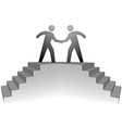 people climb stairs to meeting platform handshake vector image vector image