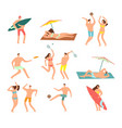 people in swimsuits in sea beach vecation vector image vector image