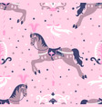 pink carousel horse seamless pattern vector image vector image