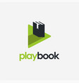 play and book logo icon on white background vector image