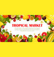 poster of exotic fruits for tropical market vector image vector image