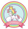 princess unicorn on a rainbow frame vector image