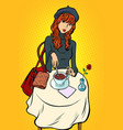 red haired girl in a cafe vector image vector image