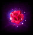 red rose flower slot machine icon with sparkles vector image vector image