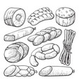sausage and salami delicious meat sketch set vector image vector image