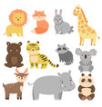 set cute animals in cartoon style isolated on vector image