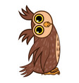 set isolated emoji character cartoon owl asks the vector image vector image