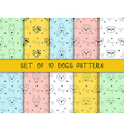 Set of 10 seamless patterns with different breeds vector image vector image
