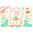 set of festive decorations for happy easter vector image vector image