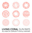 set of sunburst rays of sun in trendy coral color vector image