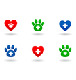 set veterinary icons vector image