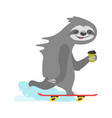 sloth character riding skateboard vector image vector image