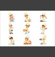 small kids in chief double-brested coat and toque vector image vector image