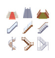 staircases wooden and metal ladders with vector image vector image