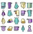 towel icon set line color vector image vector image