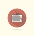 tv flat round icon vector image