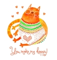 Watercolor hand drawn card with a cute cat vector image vector image