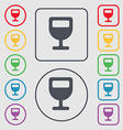 Wine glass Alcohol drink icon sign symbol on the vector image