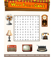 Word puzzle game for antiqu objects vector image vector image